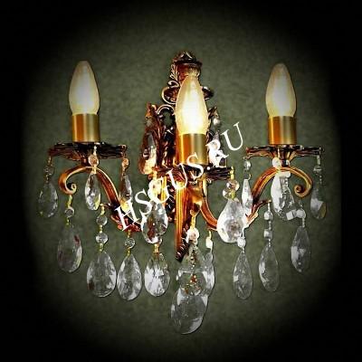 Хрустальная Бра Бронза 3 лампы