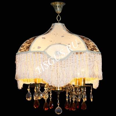 Бронза  4 лампы с абажуром белый