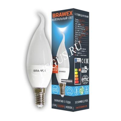 Светодиодная лампа Е14,свеча на ветру нейтральный свет