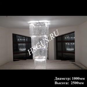 """Хрустальная люстра """"Квадрат Каскад Длинный 1000*2500мм"""""""